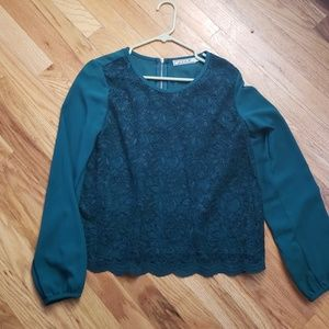 Deep Teal, Lace Front Blouse